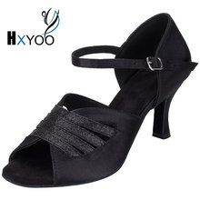 HXYOO 2017 New Arrived Satin Latin Dance Shoes Women Salsa Ballroom Shoes Tango Black Champagne Soft Sole Professional WK029