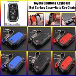 5 przycisków dla toyota Carolla Camry Reiz Sienna prius Land Cruiser Rav4 Auto klawiatura 1 zestaw stylizacja samochodu z włókna węglowego etui na klucze pokrywa torba brelok|Etui na kluczyki samochodowe|   -