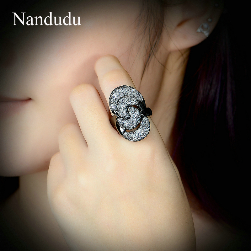 Nandudu Black Color Austrian Crystal Wire Mesh Net Rings for Women Girl Christmas Gift Special Design Ring Accessories R1874