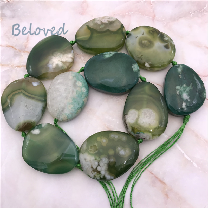Natural Freeform Polished Green Cherry Agates Slice Beads, Raw Sakura Agat Quartz Gems Stone Slab Necklace Making Beads, BG18189