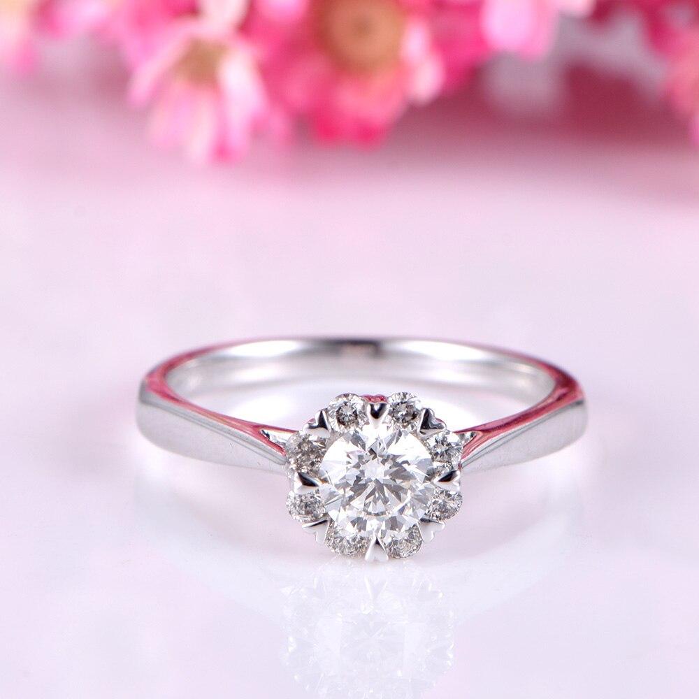 Moissanite Ring 14k White Rose Yellow Gold Engagement Wedding Rings ...