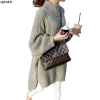 Thick Autumn Winter Long Sweater Women Lantern Sleeve Half Turtleneck Sweaters And Pullovers Oversized Long Pull