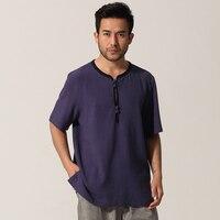 Hot Sale Blue Chinese Men Short Sleeve Shirt Cotton Linen Kung Fu Shirt Tops Summer Casual