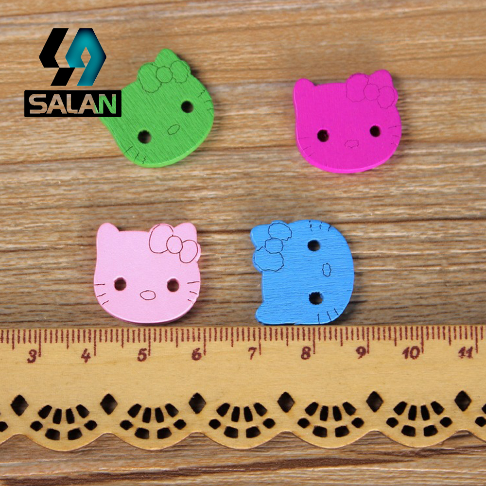 WB 0008 Free shipping wholesale retailed 15pcs lot colorful hello kitty  wooden buttons for children clothing DIY gift-in Buttons from Home   Garden  on ... 436d6cb9ccc45