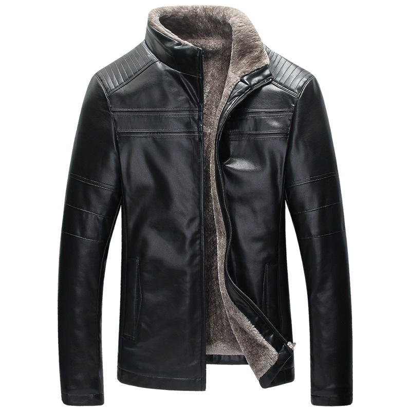 Mens Fur Lined Leather Jacket In Stock Real Picture Winter Warm Mens Fur Leather Jackets Overcoats Plus Size XXXL
