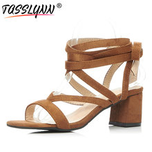 TASSLYNN 2019 Women Sandals Sexy Tassels Lace Up Square High Heels Summer Shoes Comfortable Flock Strap Simple Shoes Size 34-43