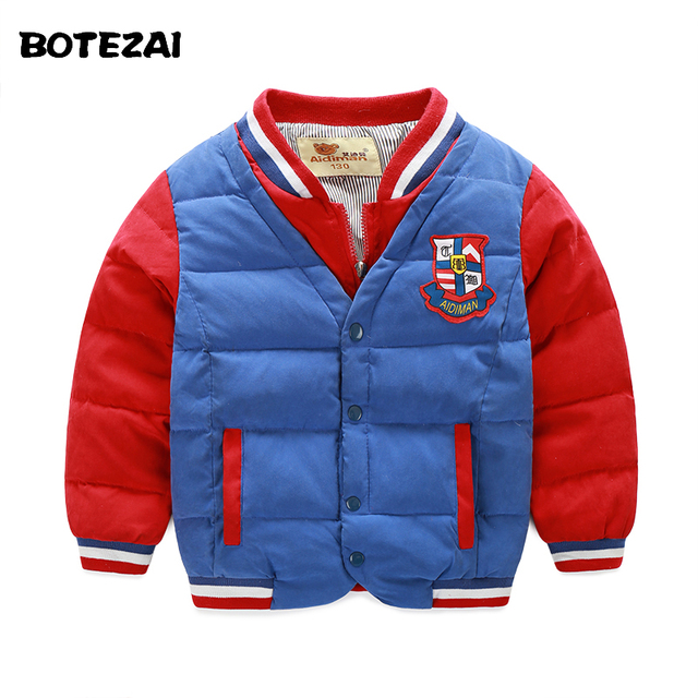 New 2016 Autumn Winter Children Outerwear Warm Boys Jackets Sport Casual Kids Coats Baby Down Clothes Infant Overcoat Parka