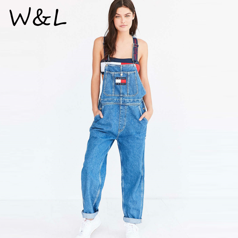 2017 Casual long jumpsuit rompers denim jeans women loose backless straight overalls Streetwear playsuit Trousers Bodycon Pants