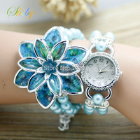 New Fashion Women Rhinestone Watches Bracelet Vintage Watch With Resin Flower Lady Wristwatches