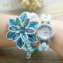Shsby Женская мода Горный Хрусталь Часы Дамы перл ремень Многие лепестки цветка браслет кварцевые наручные часы женщины одеваются часы