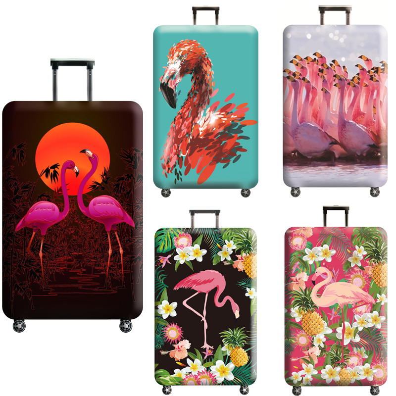 TLDGAGAS Luggage Cover Flamingos Pattern Suitcase Protector Suit For 18-32 Size Cute Trolley Case Dust Cover Travel Accessories