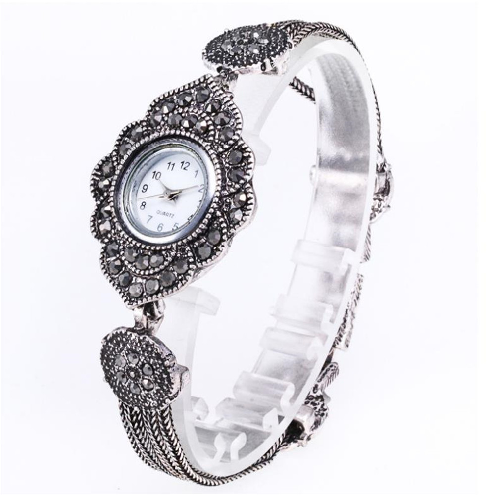 Woman's Tibetan Silver Bracelet Watch Retro Fashion Diamond Watch Retro Art Black Zircon Quartz Watch