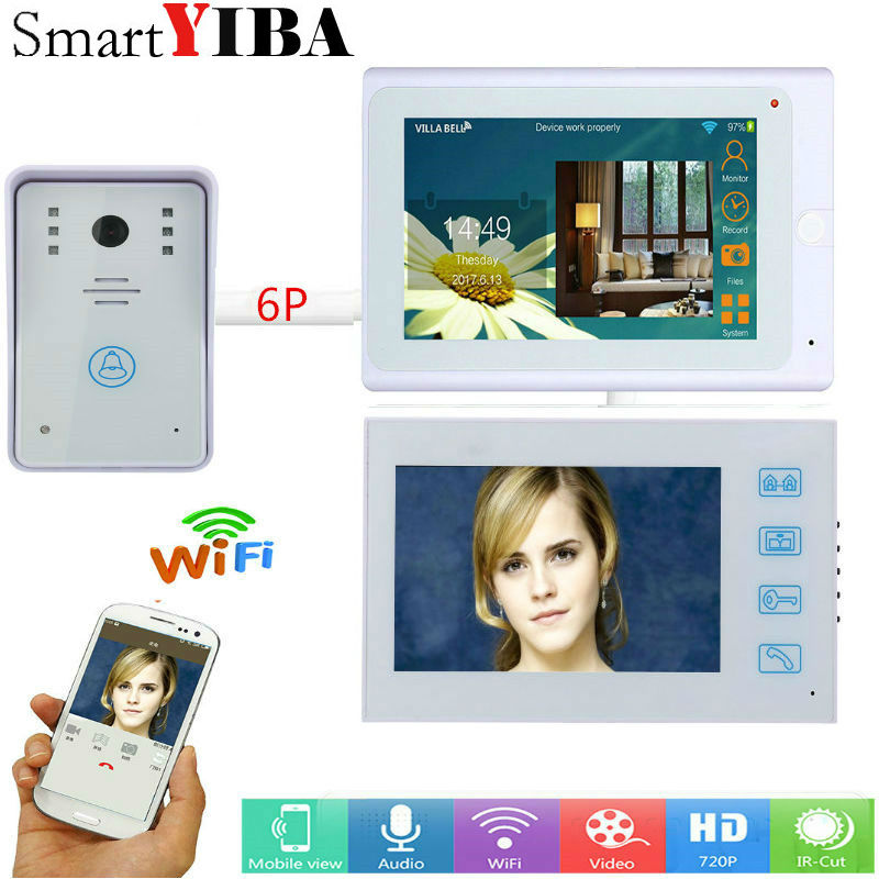 SmartYIBA 2*7inch White Wired/Wireless Wifi IP Video Door Phone Doorbell Intercom Entry System With Wired Camera Night Vision