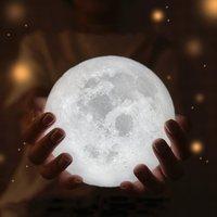 2 pcs 3D Print Unique Moon Lights Night Light Moon Light Touch Control Charging LED 13CM