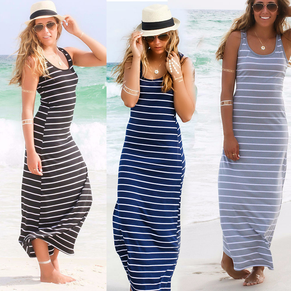 164896f0ff53f Sexy Women Summer Boho Long Maxi Dress Beach Sleeveless Tank Dresses Plus  SIZE Striped Cotton Femme VestidosS M L XL XXL-in Dresses from Women s  Clothing on ...