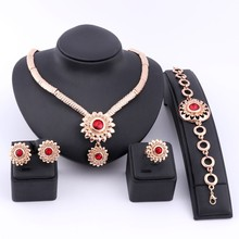 hot deal buy fashion gold color red gem crystal bridal jewelry sets for women engagement rings necklace earrings bracelet wedding party sets
