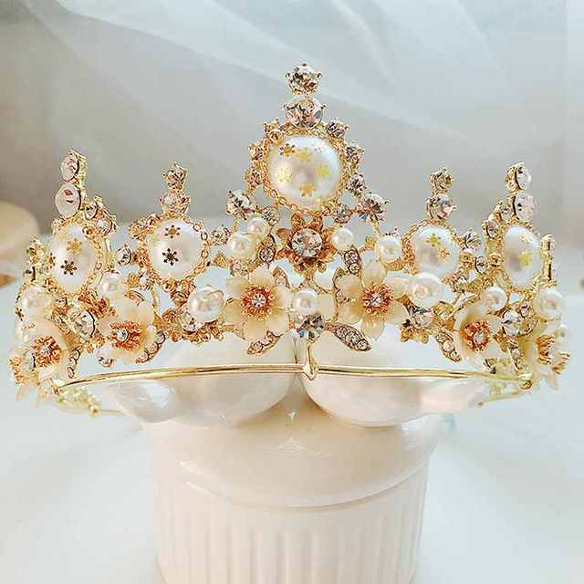 Handmade Baroque Golden Cream Pearl QUEEN CROWN Rhinestone Flower Fairy  Maiden Tiaras Wedding Accessories Headwear Elegant XL069 0a42f6f3dced