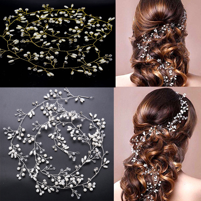 Wedding Headdress 1PC Popular Simulated Pearl Hair Accessories For Bride Crystal Crown Floral Elegant Hair Ornaments Hairpin