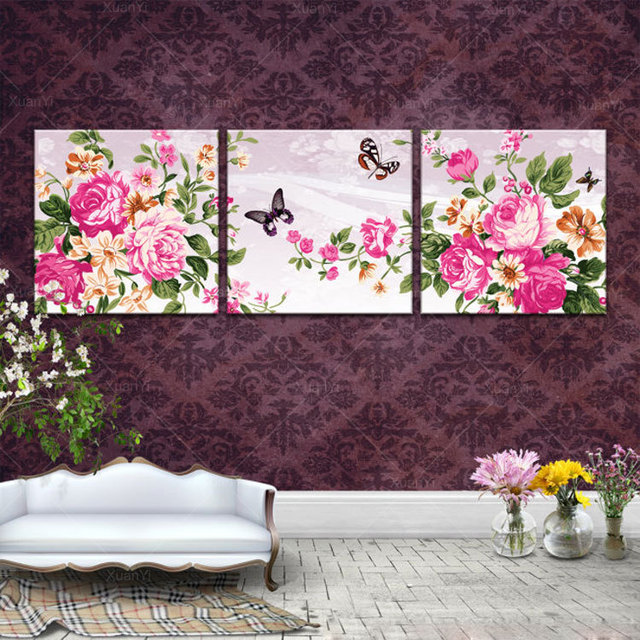 Peony Wall Art aliexpress : buy 3 piece canvas wall art painting beautiful