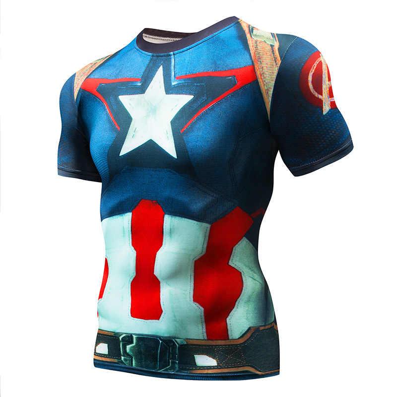 2018 Marvel Superman Captain America Super Hero Kompresi 3D Dicetak T-shirt Pria Kebugaran Pakaian T Shirt Ukuran Besar 4XL Atasan