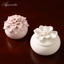 Aqumotic 1pc Ceramics Jewelry Storage Box Bedroom Room Decoration Indoor Decorations Crafts Jewelry Boxes White Pink