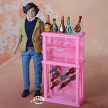 New Miniature Furniture Wine Cabinet Set with Wine cup Racks for barbie kurhn  Doll House Best Gift Toys for Girl