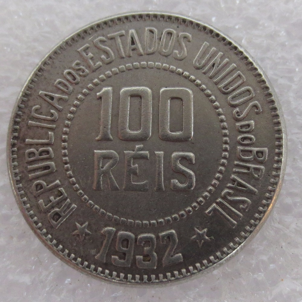 Хорошее Качество Бразилия 100 Reis 1932 Медь и никелевого сплава монеты скопировать