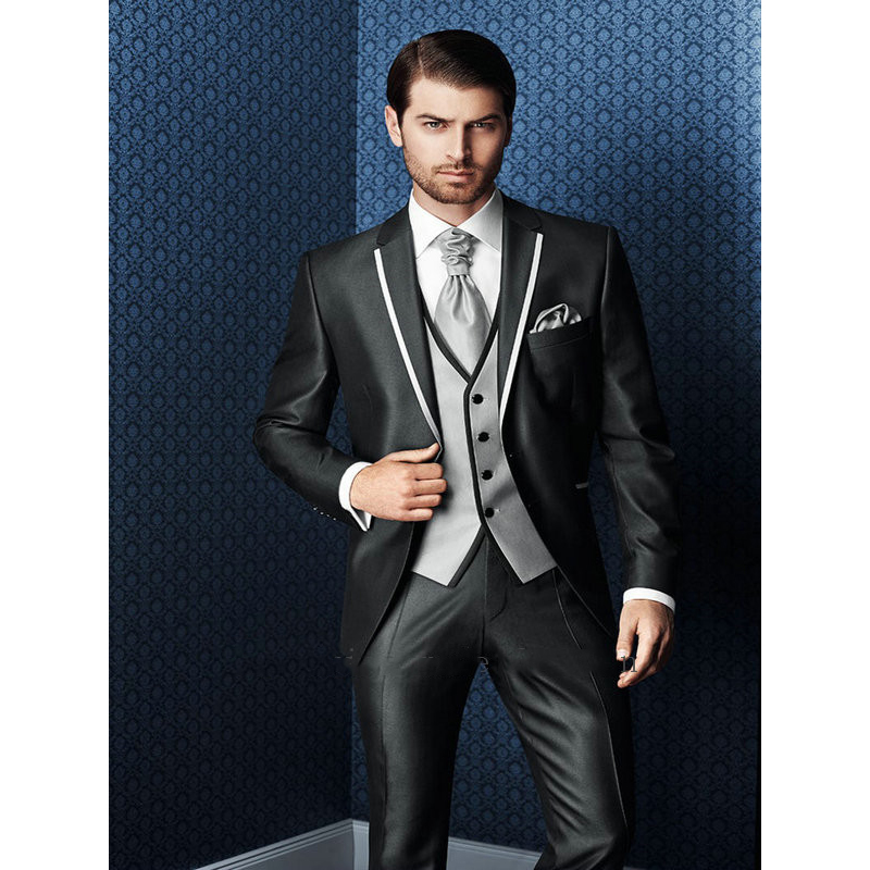 Men Fashion Casual Suits Sets jacket pant Male White Black Gray Slim Fit Blazer Jacket Trousers