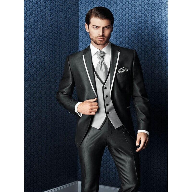 2017 New Arrival Bespoke Grey Classic Wedding Groom Suit For Men Wedding Tuxedos Groomsmen Best Man Suit (Jacket+Pants+Vest+Tie)