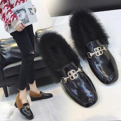 2018 г. Новая обувь на меху, женская обувь на квадратном каблуке в британском стиле, туфли без задника