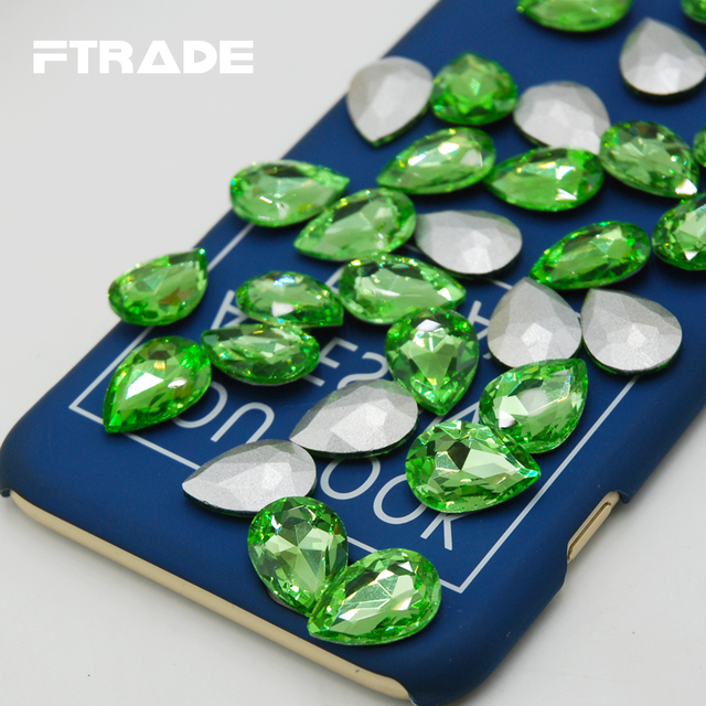 DIY Wedding Dress Jewelry And Clothing Decoration Light Green Color  Teardrop Shape Point Back Glass Crystal Strass Stones 83a962b47673