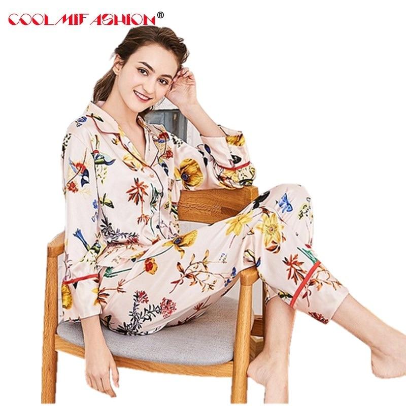 High quality Luxury Silk like Print Sleepwear Women spring home clothing long sleeve pajamas women soft breatbable skin friendly