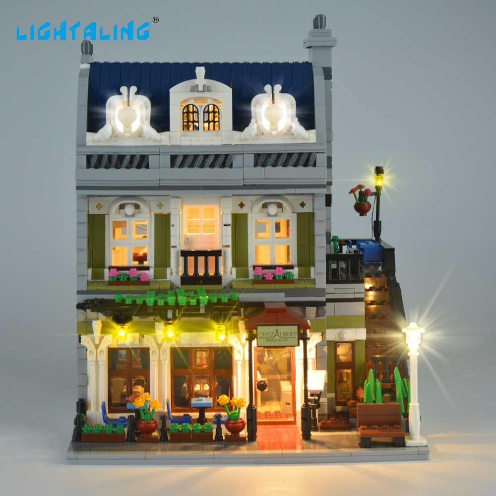 Lightaling LED Street Light Set Compatible with Famous Brand Parisian Restaurant 10243 Creator Decorate Light Kit