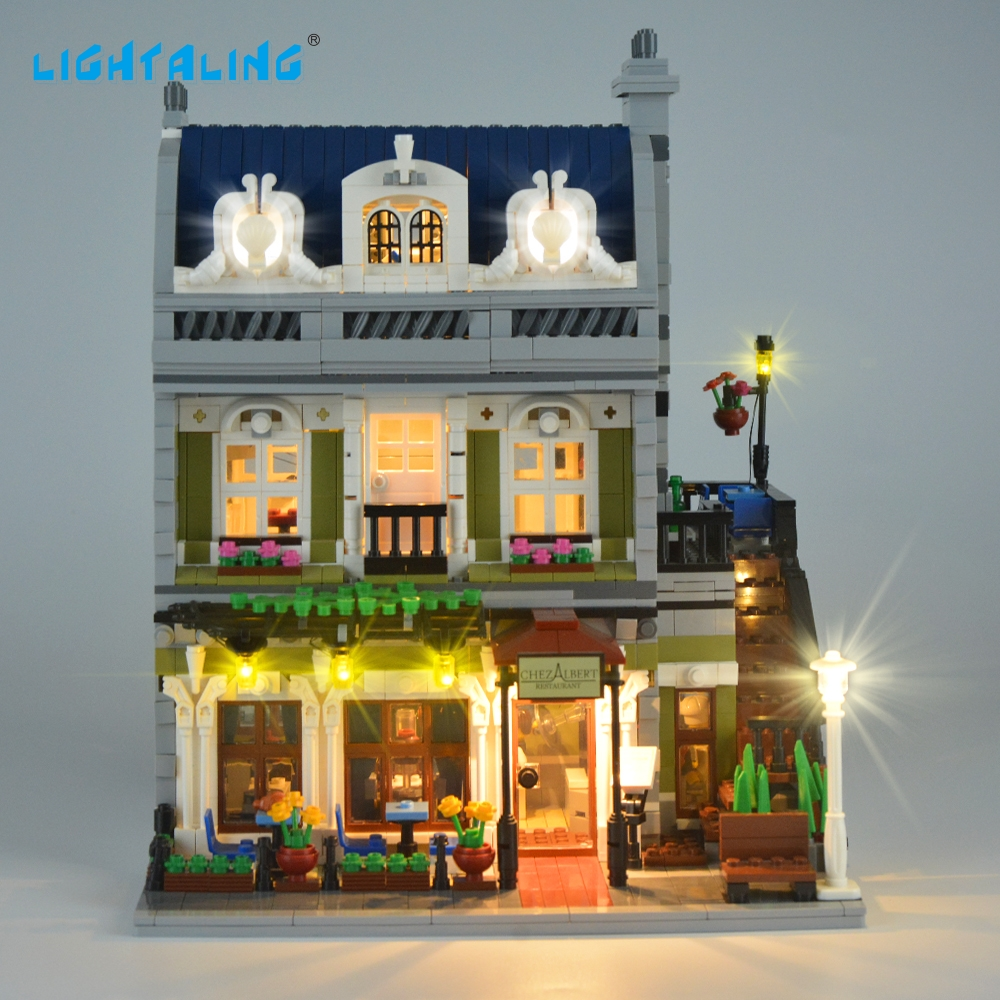 Lightaling LED-Street Light Set Kompatibel med känd märke Parisian Restaurant 10243 Creator Decorate Light Kit