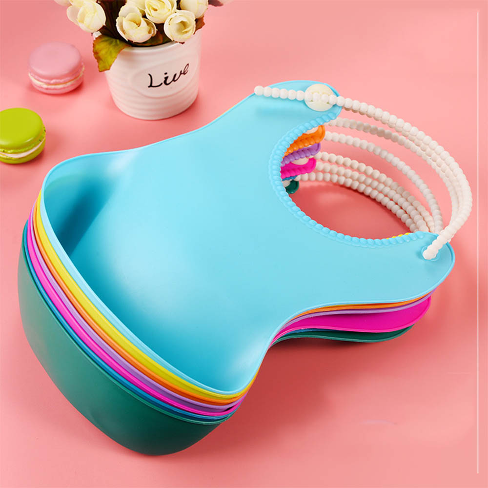 Waterproof Newborn Baby Infants Silicone Bibs Dinner Lunch Saliva Aprons Towel