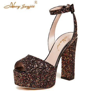 Colorful Glitters Sequined Peep Toe Sandals Platform High Block Heel Ankle-Strap Mixed Colors Shoes Woman Party Summer Holidays