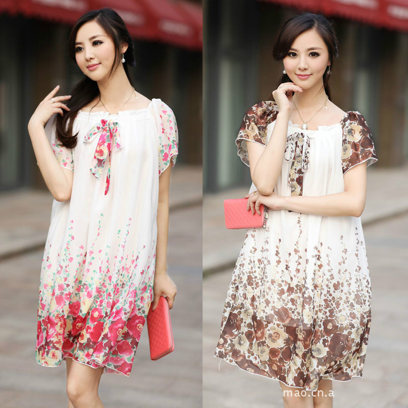 Maternity clothes fashion summer Sweet style chiffon dress Pregnancy wear loose dress