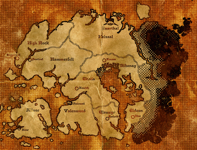 The Elder Scrolls Skyrim Poster Tamriel map Classic Canvas Paintings ...