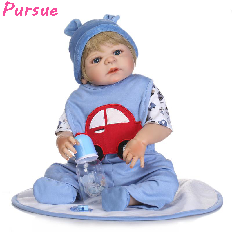 Pursue 22/57 cm Handmade Gift Lifelike Reborn Baby Boy Doll Full Body Silicone Reborn Babies Dolls bebe alive reborn bonecas pursue 22 56 cm big smile face reborn boy toddler baby doll cotton body vinyl silicone baby boy doll for children birthday gift