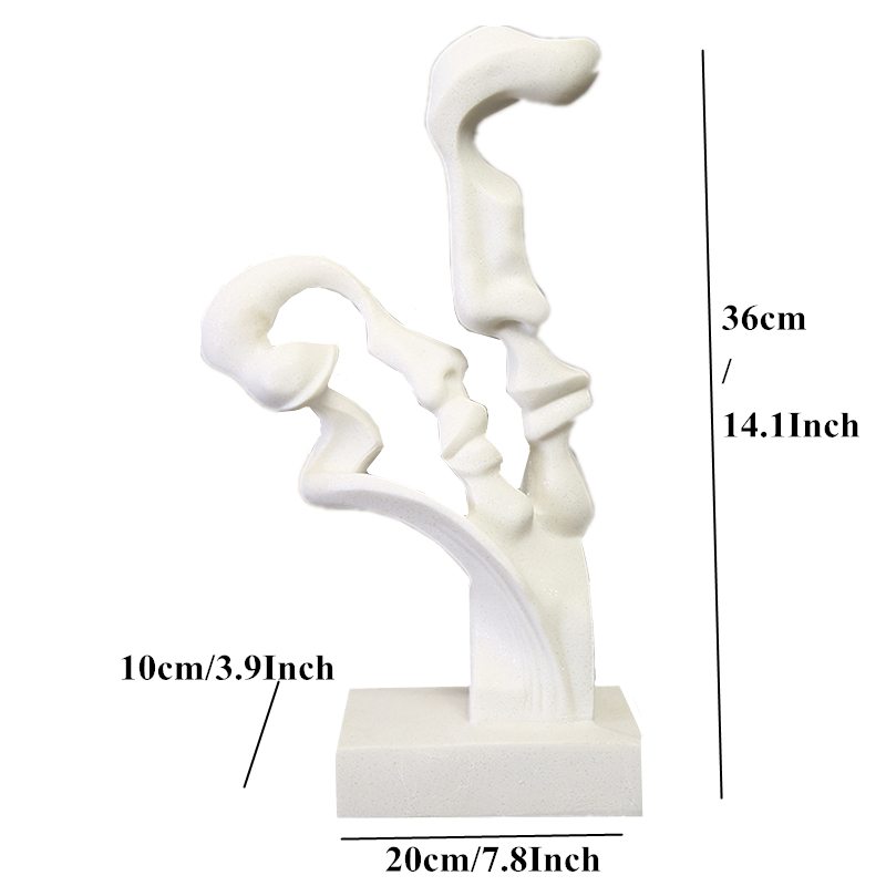 VILEAD 14Inch White Sandstone Abstract Lovers Figurines Love Couples Statuettes Weeding Decoratioin Lovers Miniatures Home Decor in Figurines Miniatures from Home Garden