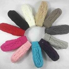 Модные женские зимние вязаные перчатки варежки