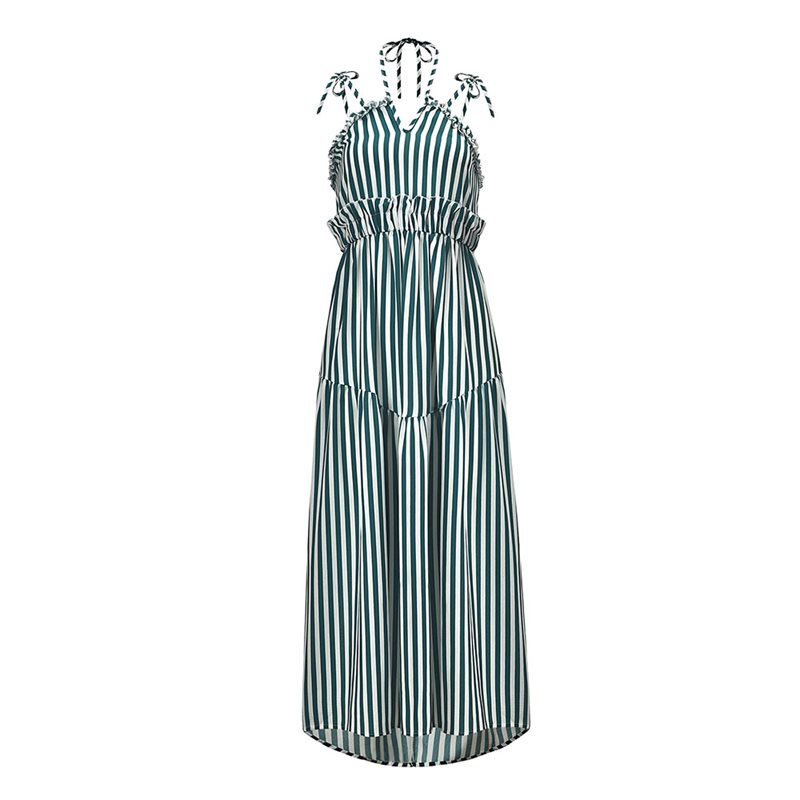 Sexy Strap Dress Women 2019 Boho Stripe Print Fashion Lace Up Backless Summer Yellow Chic Beach Robe Casual Holiday Maxi Dresses in Dresses from Women 39 s Clothing