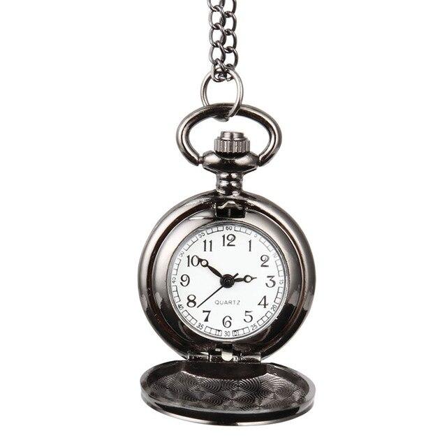 Fashion Unisex Vintage Quartz Pocket Watch Alloy Smooth Surface Clock Necklace C