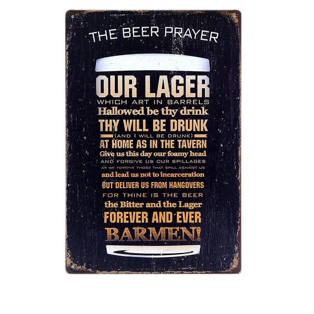 The Beer Prayer Vintage Metal Tin Signs Bar Pub Cafe Home Kitchen Wall  Decor Art Poster