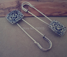 8pcs/lot antique Silver Flower Brooch Pin 23mmx79mm