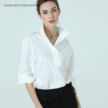 Women Cotton White Blouse POLO Shirt Stand Collar Nine Quarter Sleeve Plus Size Elegant Office Ladies Formal Dress Working Tops
