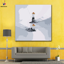 DIY colorings pictures by numbers with colors Small boat rowing fishermen picture drawing painting by numbers framed(China)