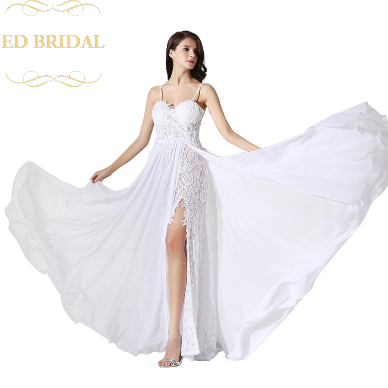 Lace Wedding Gown With Straps: Aliexpress.com : Buy A Line Spaghetti Straps Lace Chiffon