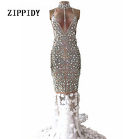 Роскошный платье со стразами блестящие камни вечерние длинным шлейфом платье с цветами Для женщин Пром День рождения, празднование Серебря