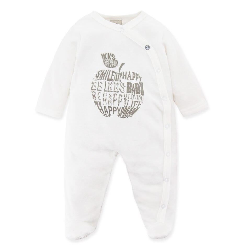 ebcff255a0c Bebé Ropa manga completa cubierta del pie terciopelo dormir recién nacido  Rompers ropa fresa impresa rosa para 3 M 24 M en Monos de Mamá y bebé en ...